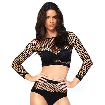 2pc Industrial Fishnet Long Sleeve Crop Top and Matching High Waist Bottoms Set