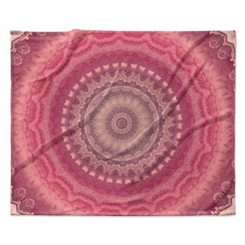 Kess InHouse Sylvia Cook A Pastel Spring Pink Floral Round Beach Towel Blanket