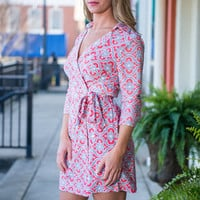 Work For Wrap Dress, Coral-Gray