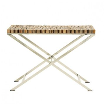 Stainless Steel Teakwood Console Table