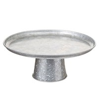 """Farmhouse Galvanized Metal Cake Stand - 5"""" Tall x 12"""" Wide"""