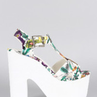 Women's Speed Limit 98 Sketch Floral T-Strap Chunky Platform Heel