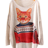 Cat Portrait Print Sweat Shirt
