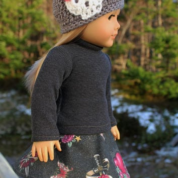 18 inch doll clothes, circle skirt with skulls, hearts, daggers, grey  sweater, crochet beanie hat with skull,  american girl, Maplelea