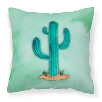 Western Cactus Watercolor Fabric Decorative Pillow BB7369PW1414