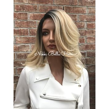 """Kybella 12""""  Root Blonde Bob Lace Front Wig"""