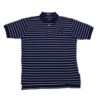 Vintage Navy Blue Polo by Ralph Lauren Striped Golf Polo Shirt Mens Size Medium