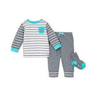 Little Me Boys 3 Piece Grey/White Striped Long Sleeve Top with Car Graphic Print, Navy Drawstring Jogger and Sock Set