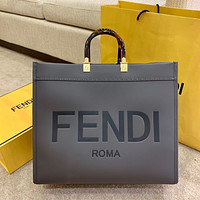 Fendi Fashion Women Shopping Leather Crossbody Shoulder Bag Satchel Burgundy 40*35cm