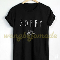 Justin Bieber Shirt Sorry Song Black Grey and White Color Tshirt