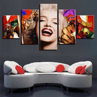 5 Pieces Famous Actress Marilyn Monroe Modular Canvas Wall Art Picture Poster