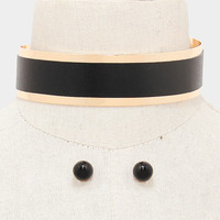 """12.50"""" gold black faux leather choker collar band necklace .50"""" earrings 1.25"""" wide"""