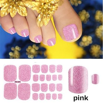 Glitter Toenail Art Polish Stickers  Adhesive Wraps