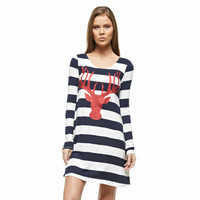Reindeer and Stripes Tunic Navy