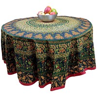 "Handmade 100% Cotton Elephant Mandala Floral 81"" Round Tablecloth Green Red"