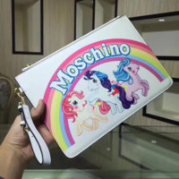 Moschino New fashion rainbow three unicorn letter hand wallet bag White