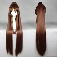 Fashion Women Syle 110cm Kantai Collection KanColle-Yamato Long Brown Ponytail Cosplay Party Costume Full Wig PP,Colorful Candy Colored synthetic Hair Extension Hair piece 1pcs WIG-577O
