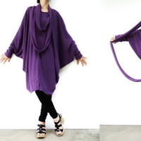 NO.57 Violet Cotton-Blend Oversize Sweater With Infinity Scarf Cocoon Tunic Dress