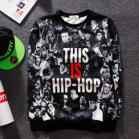 Trendy West Coast This is Hiphop Printed Unisex Loose Sweater Pullovers