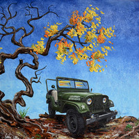 """Jeep Willys, M38A1, Army, 18"""" x 24"""" original oil painting, Jeep,1953, fathers day, gift, christmas, present, men, man, US Army Jeep"""