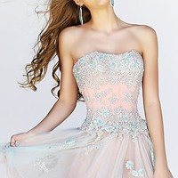 Short Strapless Lace Corset Style Party Dress by Sherri Hill