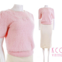50's Vintage Angora Sweater Top Pastel Pink Embellished Clothing Women's Size Medium / Fuzzy Soft Gathered Sleeves Faux Pearls -1950's Retro