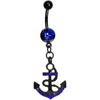 Blue Gem Paved Black Anchor Dangle Belly Ring | Body Candy Body Jewelry