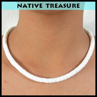 "Native Treasure Smooth White Heishe Puka Shell Necklace 5mm (3/16"") - 12"" to 30"""