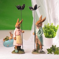 Creative Resin Rabbit Decoration Candle Stand [6283012102]