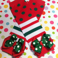Baby Girls Christmas Leg Warmers-Polka Dotted Christmas Leg Warmers-Red and Green Christmas Leg Warmers-Leg Warmers with Bows