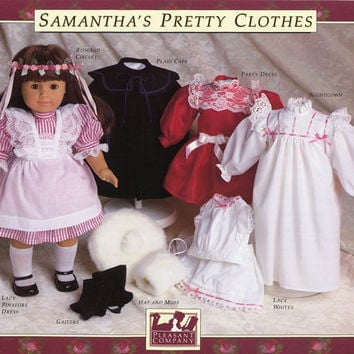 American Girl Doll Pattern UNCUT Samanthas Portfolio of Doll Dress Patterns Pinafore Dress Cape Gaiters Doll Clothes Vintage Sewing Pattern