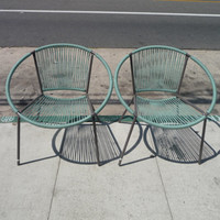 Pair of Hoop Chairs Blue Hoop Chairs Outdoor Patio Furniture Mid Century Modern Patio Furniture Patio Chair