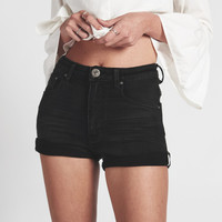 SUPERSTAR BLACK HARLETS HIGH WAIST STRETCH DENIM SHORTS