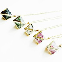 Flourite & Gold Necklace, Crystal Jewellery, Flourite Pendant, Gold Plated, Gold Electroformed, Gemstone Necklace.
