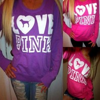 Pink Victoria's Secret Loose Long Sleeve Letter Print Top Sweater