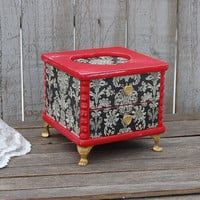 Jewelry Box, Shabby Chic, French Provincial, Red, Black, Gold, Decoupage, Damask, Hand Painted, Upcycled, Valentine's Gift