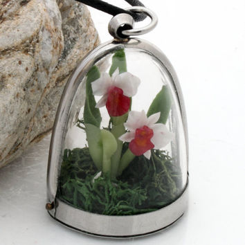 Orchid dome terrarium pendant- Wild woodland locket with realistic white and pink miniature polymer clay orchid and reindeer moss