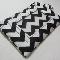 Keychain ID Wallet / ID Holder / Coin Purse / Zip Pouch with Split Ring in Pretty Black & White Chevron Fabric - Other Colors Available!