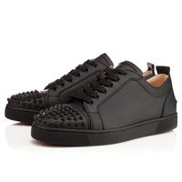 Louis Junior Spikes Flat Black Gomme Leather