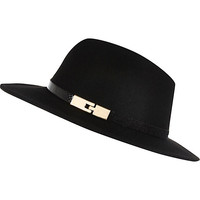 River Island Womens Black metal trim fedora hat