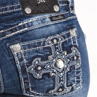 Miss Me Bootcut Jeans with Cross Stud Pocket Sizes 27-34 JP5899B3