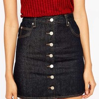 ASOS Denim Dolly A-line Button Through Mini Skirt in Indigo with Contrast Stitching