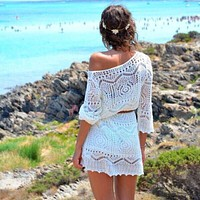 Hollow Out Bohemian White Lace Beach Dress with Belt