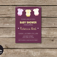 Onesuit Baby Shower Invitation, Personalized Printable Party Invite, Celebration Announcement, Baby Girl, Antique Ruby, Pink, Yellow