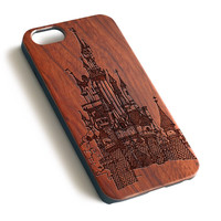Disney Castle Sketch Natural wood iPhone case laser engraved iPhone 7 6 6S Plus case WA031