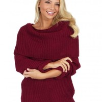 My Way Cable Knit Sweater in Berry   Monday Dress Boutique