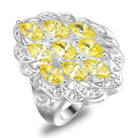 new 2014 brand fashion romantic glaring CZ gemstone 925 silver lovers rings for women four color options size 7 8 9