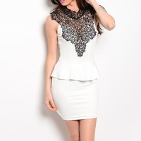 Victorian Style Peplum Dress with Crochet Neckline in Black & White