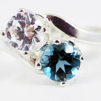 London Blue Topaz and White CZ Two Stone Ring Sterling Silver 925, December Birthstone Ring, Friendship Ring, Mother's Ring, 925 Topaz Ring