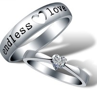 18K White Gold Plated Endless Love Couple Band Ring - Women Size 7